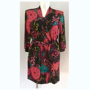 Josie Natori Wrap Floral Medallion Short Robe